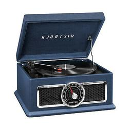 4-in-1 Nostalgic Plaza Bluetooth Record Player in Blue