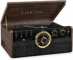 Victrola 6 in 1 Wood Bluetooth Mid Century Record Player wit
