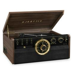 Victrola 6-in-1 Wood Bluetooth Mid-Century Record Player wit