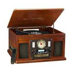 7-in-1 Bluetooth Record Player with USB Recording in Mahogan