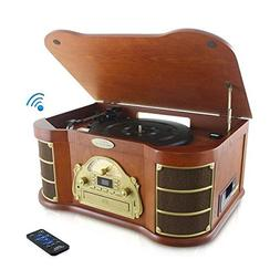 Bluetooth Compatible Classic Vintage Turntable - Retro Wood