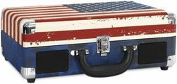 American Flag Victrola Vintage 3-Speed Bluetooth Portable Su