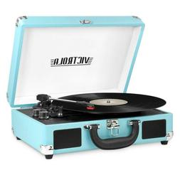 Bluetooth Portable Suitcase Vinyl Record Player with 3-speed