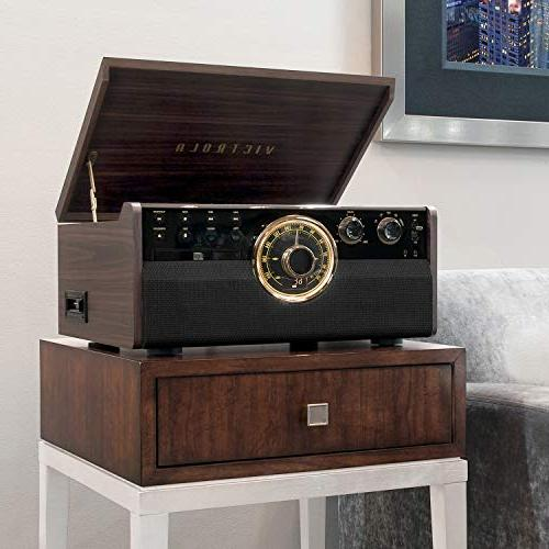 Victrola Wood Bluetooth Mid Century with Turntable, CD, Cassette