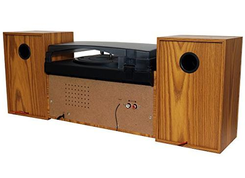 Boytone Style Player Turntable with AM/FM / Cassette Player, Separate Stereo Record Cassette MP3,