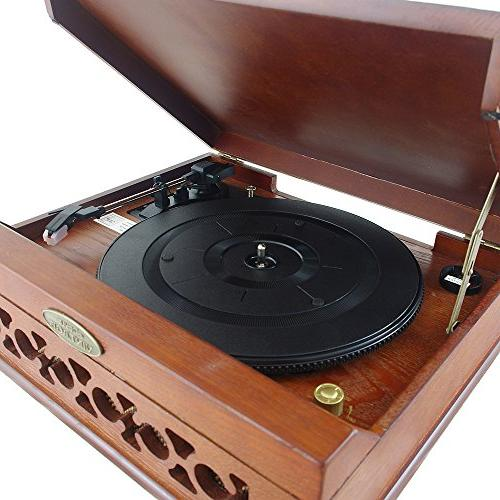 Pyle Turntable Wireless Record Player, Player Convert Mp3, Mac PC, Includes 3 33, 45, 78 -