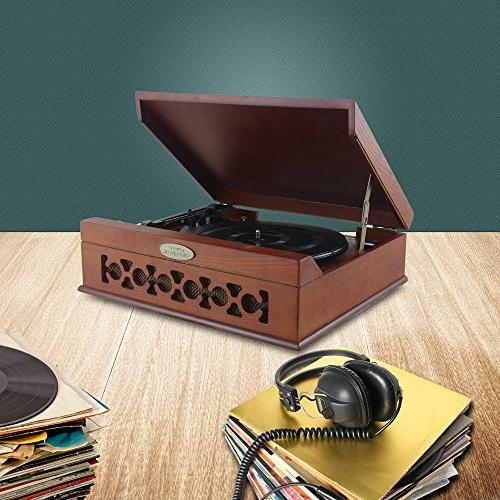 Pyle Bluetooth Retro Turntable Wireless Player Convert Mp3, Mac Includes 3 Speed: 45, 78