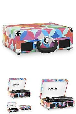 Bluetooth Suitcase Player Geo Print New
