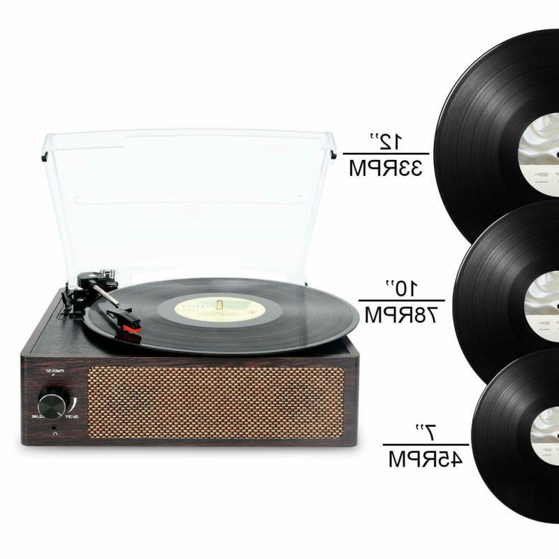 Bluetooth Record Player Belt-Driven 3-Speed Record