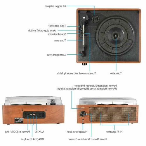 Bluetooth Vintage Vinyl Player 3-Speed Turntable RCA