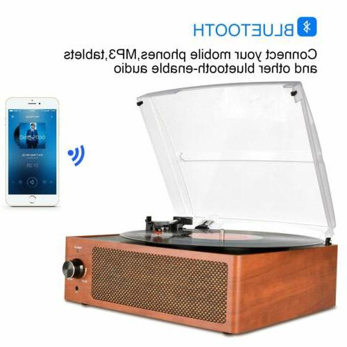 Bluetooth Vintage Player Belt-Driven 3-Speed Turntable RCA