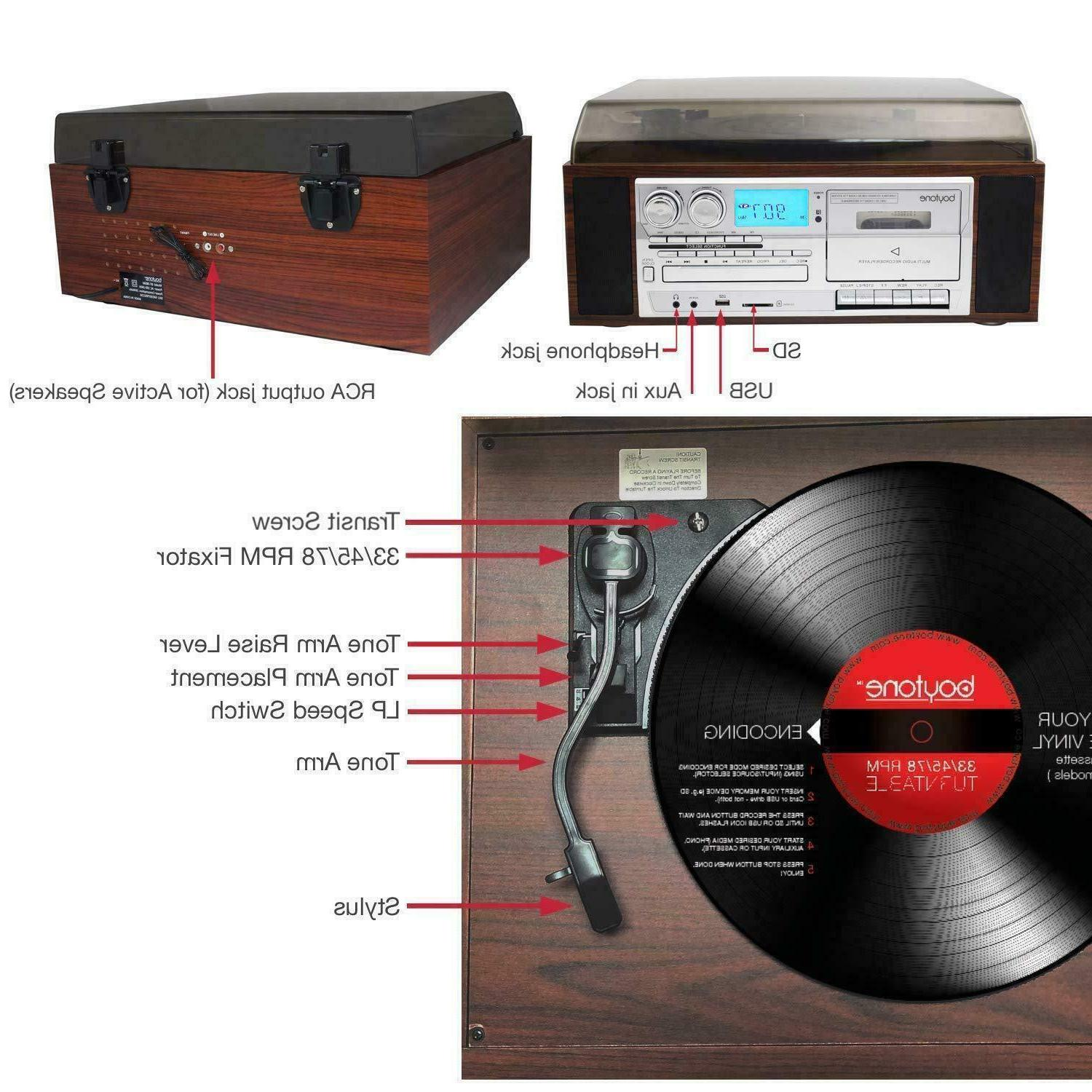 Boytone Bluetooth Turntable Record CD / Cassette Speakers