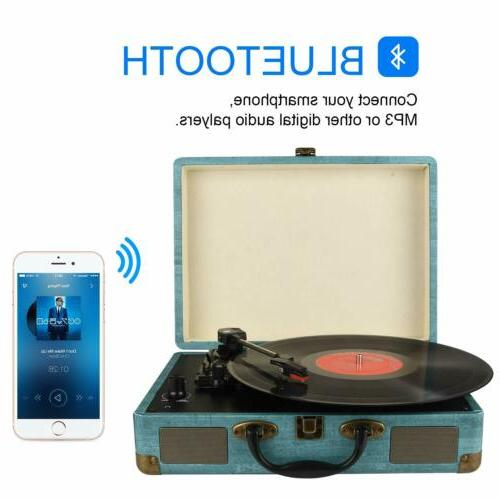 Record Player Vintage Bluetooth Vinyl Turntable with Stereo Speaker