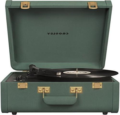 Black Crosley Portfolio Vintage 3-Speed Bluetooth Suitcase Turntable with Built-in Speakers