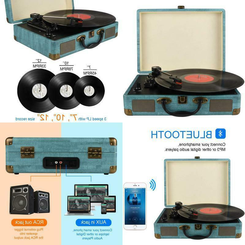 record player vintage 3 speed bluetooth vinyl