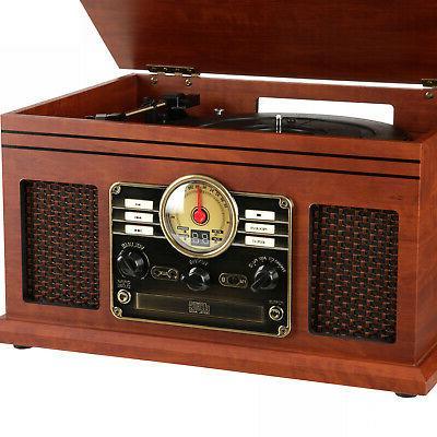 Record Speakers 6-in-1 Nostalgic 3-Speed CD FM