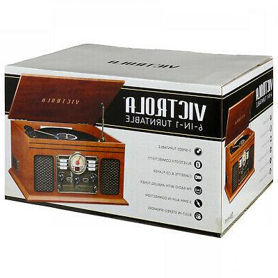 Record Player Speakers 6-in-1 Bluetooth CD Cassette