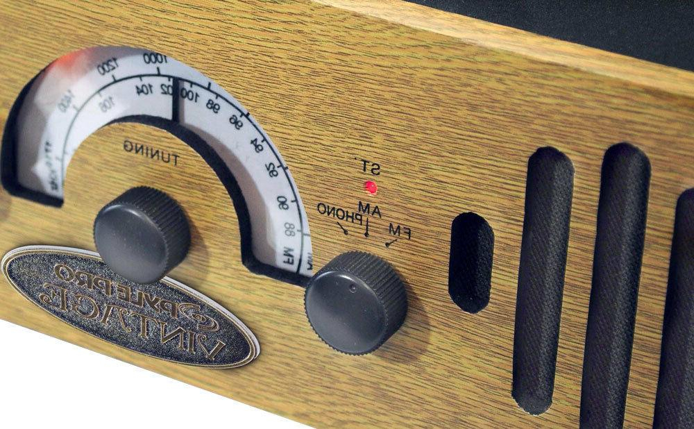 RETRO WOODEN PLAYER AMFM RADIO AUX-IN