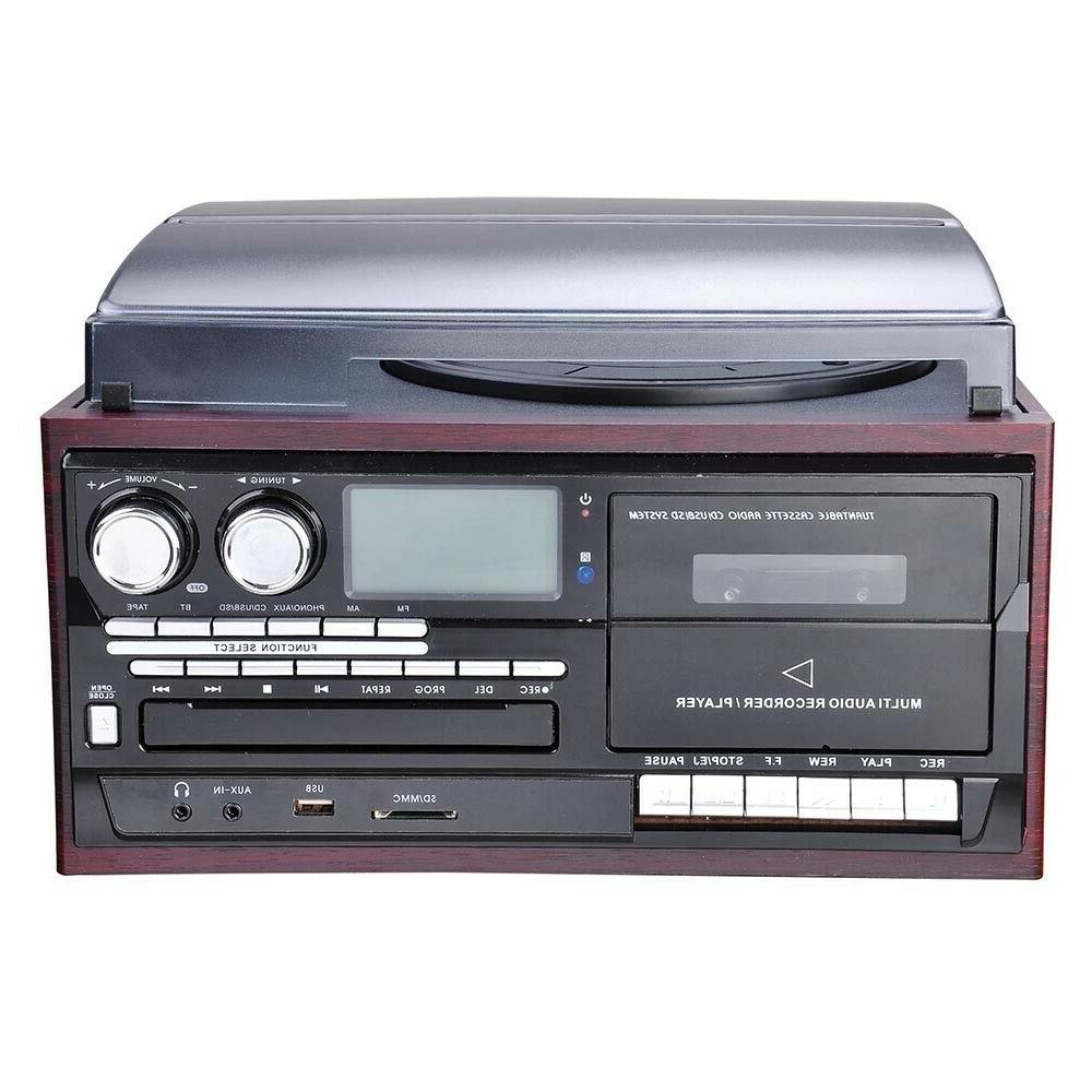 Stereo Vinyl Record Player with LCD Speakers Bluetooth Remote