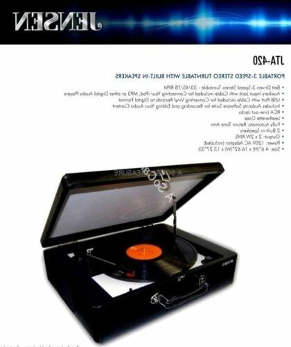 Jensen® Suitcase Player With Speakers 33 Portable