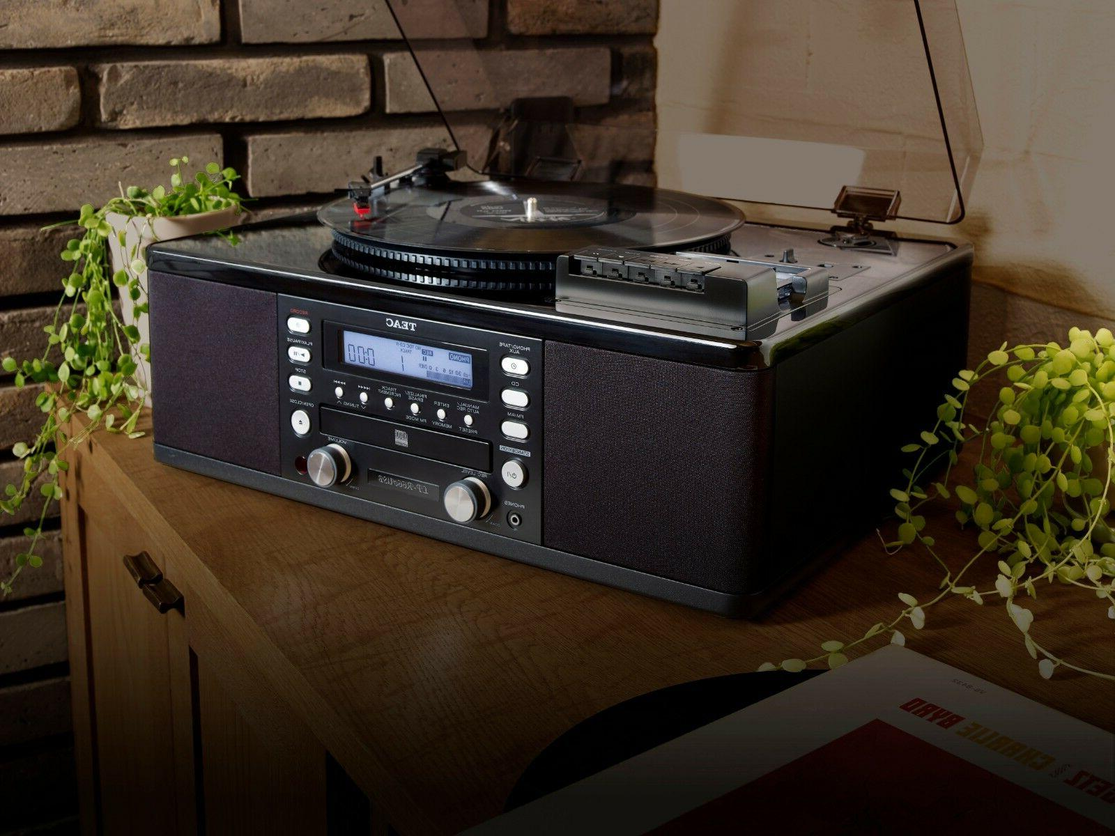 turntable with cd recorder cassette player aux