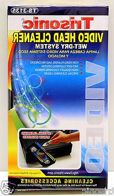 VHS VCR VIDEO HEAD CLEANER WET AND DRY FOR VIDEO PLAYERS AND