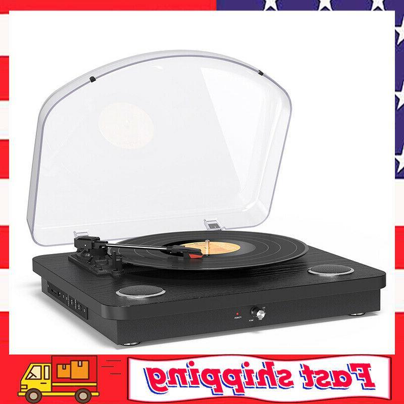 vinyl record player 3 speed turntable bluetooth