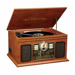 Record Player With Speakers Mahogany 6 in 1 Bluetooth Radio