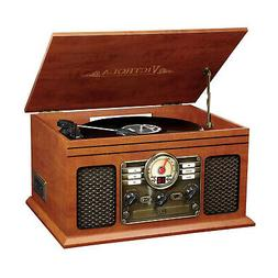 6-in-1 Nostalgic Bluetooth Record Player 3-Speed Turntable C