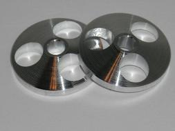 """Rega Style x 2 45 Rpm Middle Adaptor 7"""" Centre Aluminium,Rec"""