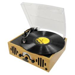 RETRO DESIGN PYLE 3-SPEED WOODEN TURNTABLE VINYL RECORD PLAY