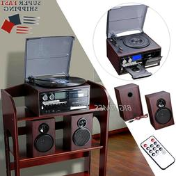 Stereo Turntable Vinyl Record Player with LCD Display Speake