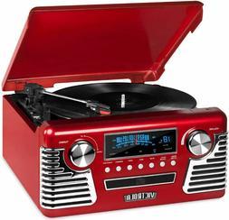 Vinyl Record Player With Speakers Turntable 50s Retro Blueto