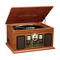 Wood Finish Nostalgic Bluetooth Record Player with 3-speed T