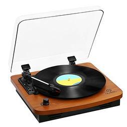 JORLAI 3-Speed Wooden Retro Turntable Belt Driven LP Vinyl R